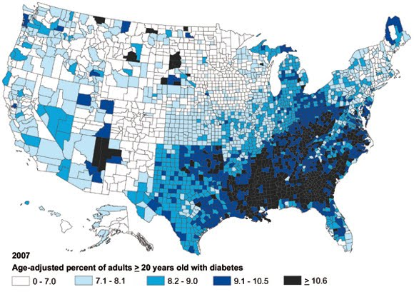 next here is a map showing cdc data on diabetes rates in the united states by county in 2007 notice a trend here click the image to view a larger