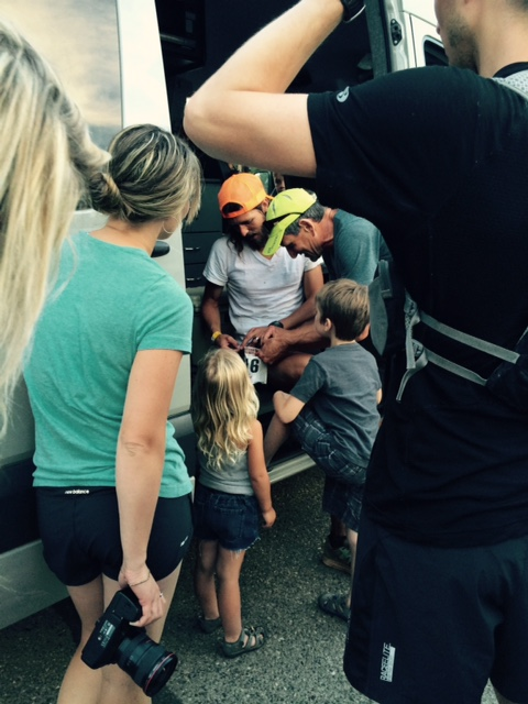 My awesome family/crew taking care of me as I got into Forest Hill.  This kids had all kinds of questions and were filling me in about their day.  Photo - Sue Henry