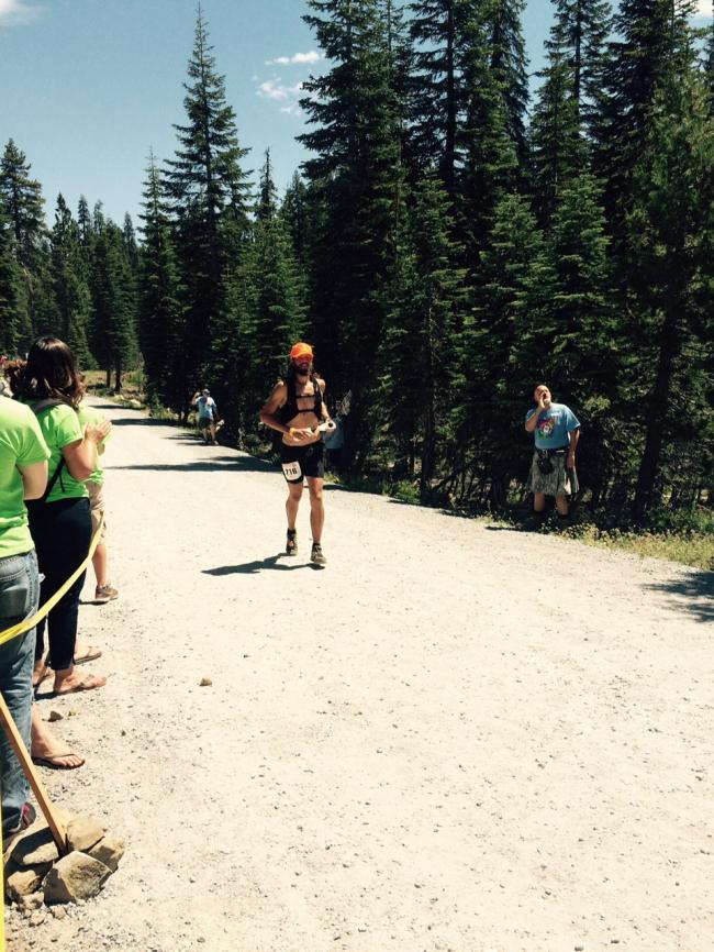 Coming in to Robinson Flat (mile 30) already hot and a little behind on water. Photo - Sue Henry