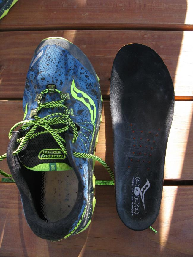 Insole shows the wide, oblique shaped last on the shoe and it is by far the roomiest Saucony I've tried.