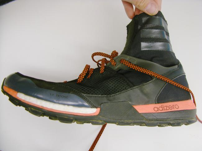 Great midsole with adios style geometry, Boost in forefoot and a unique randed, yet simple upper.