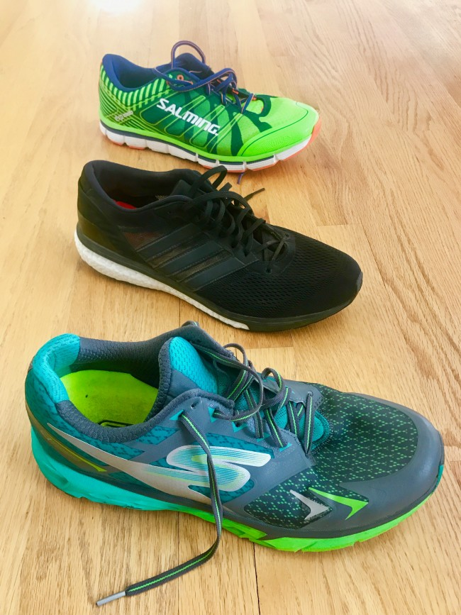 From Bottom to Top: Skechers GORun Forza, adidas adizero Boston 6, and Salming Miles.