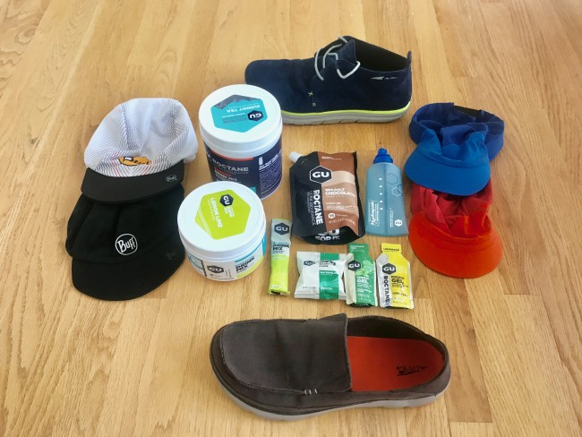 Altra Casual shoes, Buff and Dynafit running hats and GU Hydration and Nutrition products.